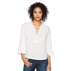 [Lucky Brand] NEW Embroidered Pintuck Peasant Top